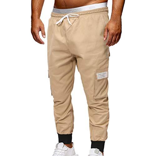 - ZEFOTIM Pants for Men Fashion Sport Jogging Pant Casual Loose Jeans Sweatpants Drawstring Pant(Khaki,Medium)