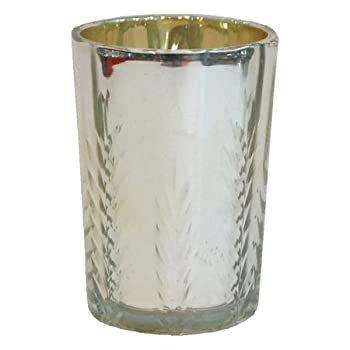 Tall Silvered etched Glass Votive Holder