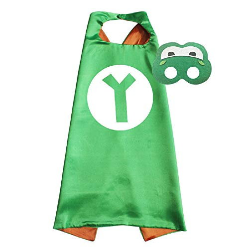 Super Mario Cape and Mask Set Costume Game Kids Birthday Party Superhero Cosplay (Yoshi) Green ()
