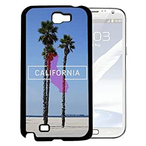 California Beach and Palm Trees Scene with Pink California State Vector (Samsung Galaxy Note II 2 N7100) Hard Snap on Phone Case Cover