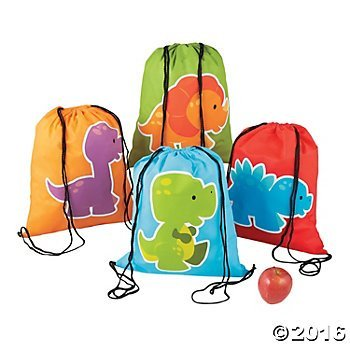Little Dinosaur Drawstring Backpacks - 12 ct
