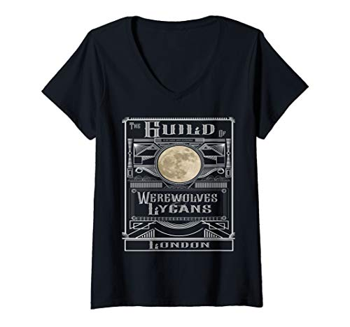 Womens Guild of Werewolves & Lycans London Steampunk Paranormal  V-Neck T-Shirt -