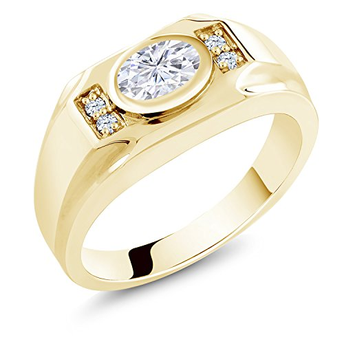 18K Yellow Gold Plated Silver Men's Solitaire w/Accent Stones Ring Forever Classic Oval 1.50ct (DEW) Created Moissanite by Charles & Colvard and Created Sapphire by Gem Stone King