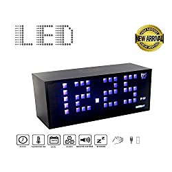 Small Digital LED Alarm Clock Large 1.5 Digits. 2-Display Mode Time 12/24 Day/Date Temperature(°C/°F) Sound-Activate & USB Output Charger Port for iPhone. Power by 4xAA Battery/USB 5V DC (LED Blue)