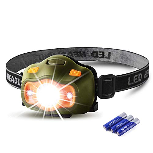 Besti Led Headlamp Flashlights -200 Lumens,2.2oz Lightweight,5 Modes Bright White&Red Strobe Light,IPX-4 Water Resistant.Great for Runners Kids Camping Hiking (AAA Battery Incl)