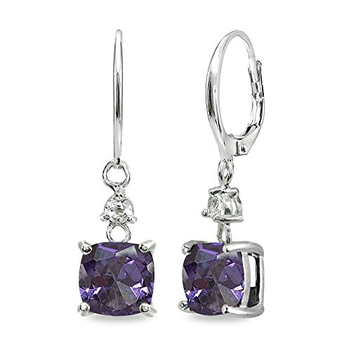 - Sterling Silver Simulated Alexandrite & White Topaz 7mm Cushion-cut Dangle Leverback Earrings