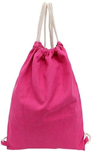 Fancyland Beutel Turnbeutel Tasche Tüte Rucksack Hipster Shopping Backpack Jutebeutel für Reisen Wandern Sport Rosa