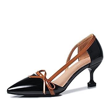 Ruanlei@Damen Spitz High Heels Kleid-Partei Pumps/High Heel Pumps/Abendschuhe/Heels T-Spangen Pumps mit Nieten...