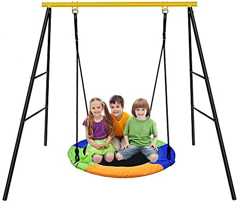 EOSAGA Swing Set,40 Kids Flying Tree Swing Saucer Swing Set for Kids with Sturdy All-Steel Frame Colorful Swing Stand