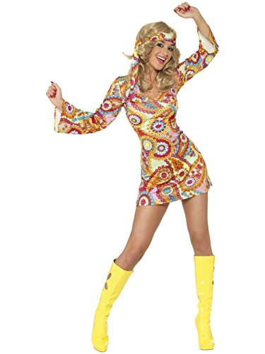 Paisley Costumes Dress (Smiffy's Women's 1960's Hippie Costume, Dress and Headband, 60's Groovy Baby, Serious Fun, Size 14-16, 34060)