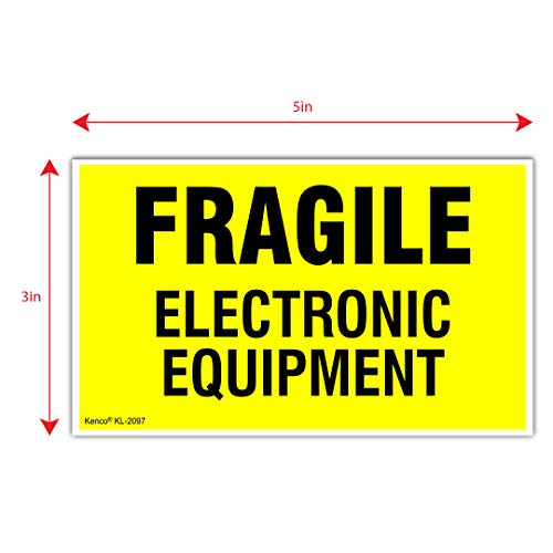 "Kenco 3"" X 5"" Fragile Electronic Equipment Fluorescent Shipping Label Stickers - 500 Permanent Adhesive Labels Per Roll"