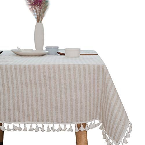 ColorBird Stripe Tassel Tablecloth Cotton Linen Dust-Proof Table Cover for Kitchen Dinning Tabletop Decoration (Square, 55 x 55Inch, Beige)