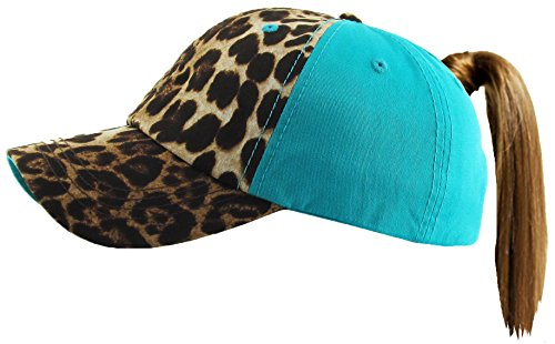 - H-216-LS46 Distressed Pony Cap - Leopard - Solid Turquoise