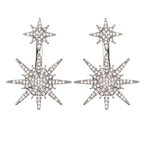 l Rhinestone Bling Bling Hexagram Star Earrings Studs Ear Drops for Women Girls Lady (Silver) ()