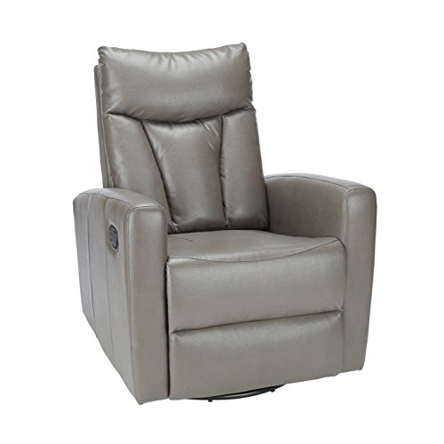 Recliner Bonded Leather Rocker - Monarch Specialties I 8087GY Bonded Leather Recliner Swivel Glider