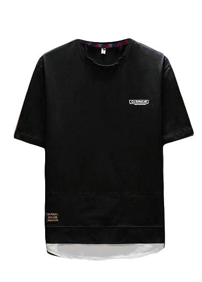 da87e6cb8 UUYUK Men Short Sleeve Relaxed Letters Print Plus Size Summer T-Shirt Tee  Tops Black