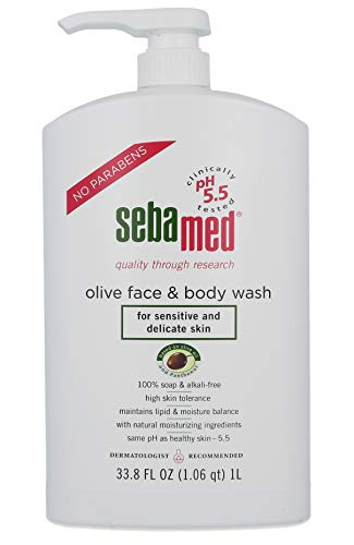 Sebamed Olive Face and Body Wash With Pump for Sensitive and Delicate Skin pH 5.5 Ultra Mild Dermatologist Recommended Cleanser 33.8 Fluid Ounces (1 Liter)