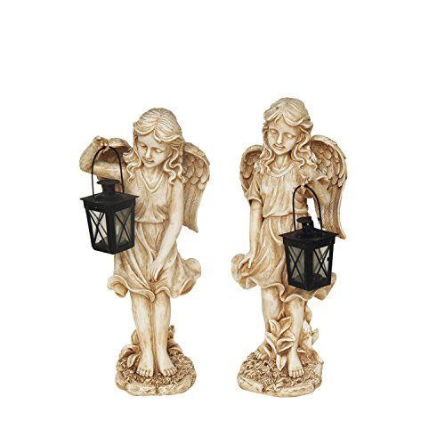 NORTHLIGHT AG37033 B Graceful Weathered Ivory Standing Angel with Tealight Candle Lantern Outdoor Garden Statue
