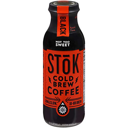 (SToK Cold-Brew Iced Coffee, Black Not Too Sweet, 13.7 Ounce Bottle , 10-Hour Brew Cold-Brew Arabica-Based Coffee, Lightly Sweetened, Ready-to-Drink Coffee to Pour over Ice or Drink Hot )