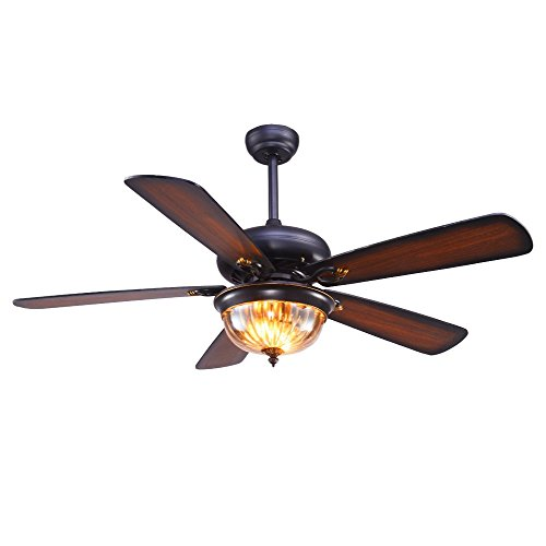 48 inch Ceiling Fan With Remote Control 1 Glass light Cover 5 Wood Blade Reversible Home Decorations Fans Chandelier For Living Room Bedroom,Tropicalfan