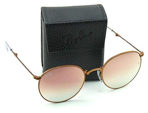 Ray-Ban RB3532 Round Folding Flash Gradient Unisex Sunglasses (Shiny Bronze Frame/Copper Mirror Gradient Lens 198/7Y, 53)