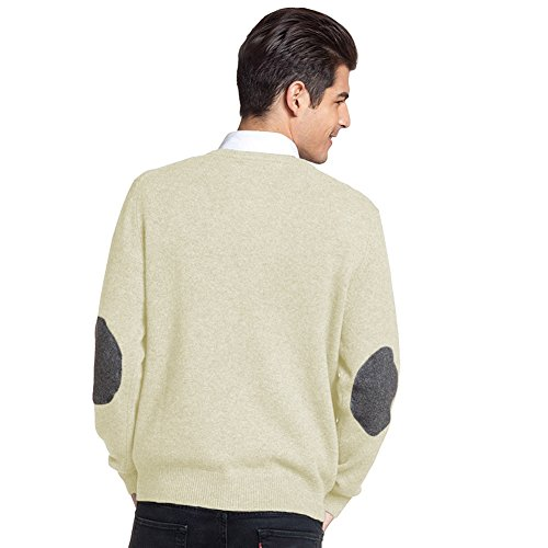 Parisbonbon Men's 100% Cashmere V-Neck Cardigan Color Ivory Size XL by Parisbonbon (Image #2)