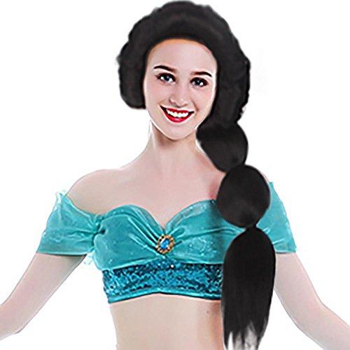 Wraith of East Princess Jasmine Wig Adult Aladdin Cosplay Fluffy Black Hair