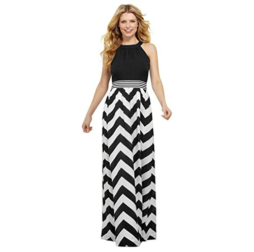 ACVIP Damen Sommerkleid Maxikleid mit Welle Muster Abendkleid Partykleid Standmode