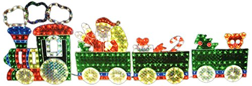 Outdoor Lighted Christmas Train Holographic Yard