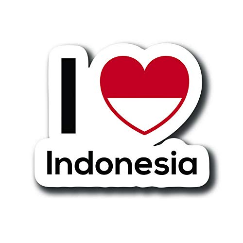 MKS0111 One 5 Inch Decal Love Indonesia Flag Decal Sticker Home Pride Travel Car Truck Van Bumper Window Laptop Cup Wall