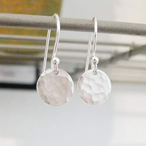 Sterling Silver Hammered Circle Earrings - Hammered Dot Earrings in Sterling Silver