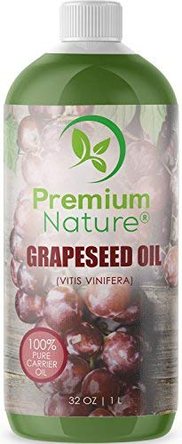 (Grapeseed Oil Pure Carrier Oil - Cold Pressed Grape Seed Extract Oil for Essential Oils Mixing Natural Skin Moisturizer Body & Face Massage Lotion for Aromatherapy Nails and Hair Growth 32 oz)