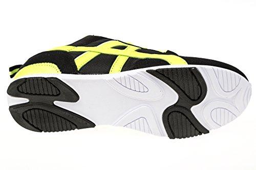 gibra® Mujer Zapatillas, muy ligera y cómoda, Negro/Amarillo Neón, Talla 36–