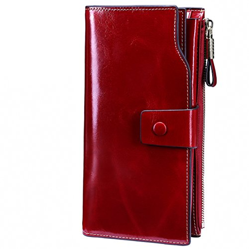 Itslife Women's RFID Blocking Large Capacity Luxury Wax Genuine Leather Clutch Wallet Card Holder Ladies Purse(Red RFID BLOCKING) 3 Part Show Card Wallet