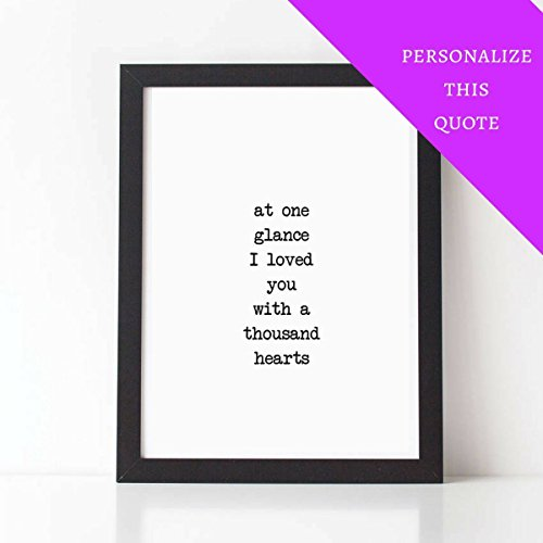 PERSONALIZED QUOTE - 'i Loved You With A Thousand Hearts' - MIHRI HATUN Poem - Personalized Poem - Custom - Wedding Gift - Love Poem - Anniversary Gift