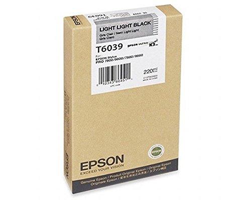 Genuine OEM Brand Name Epson T6039 Stylus 7000/7880/ 9800 Light Light Black Ink T603900 ()