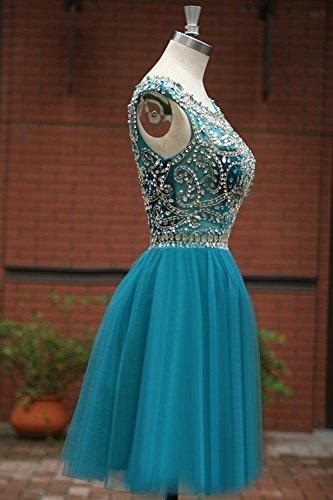 Pura Tulle Delle Reale Blu Abito Cristallo Prom Donne Dreamdress Di Del Cocktail Perline Da Collo XqtwARA