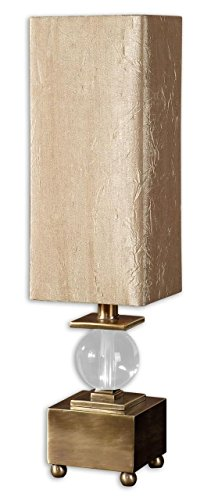 Elegant Mini Brass Metal Buffet Lamp with Tall Shade 26' Height Table Lamp