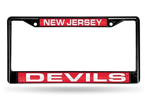 - PANGERA NHL New Jersey Devils Laser Cut Inlaid Standard Chrome License Plate Frame, 6