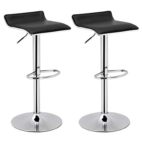 SONGMICS Set of 2 Adjustable Bar Swivel Kitchen Breakfast Counter Stools, Modern Hydraulic PU Barstools, Black ULJB62BK