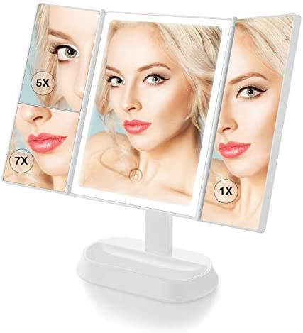 BeautyPad Trifold LED Makeup Mirror with 1x 5x 7x Magnification Touch Screen Switch LED Makeup Mirror, 90 Angle Adjustment Dual Power Supply Tri-Fold LED Vanity Mirror