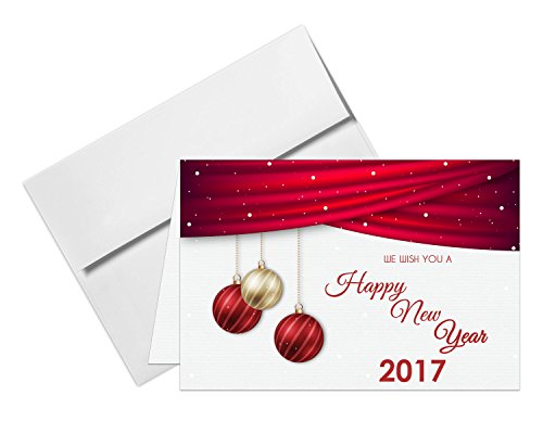 "2017 Happy New Year Cards & Envelopes - Made With Extra Thick Card Stock.- 25 Cards & 25 Envelopes Per Pack - 5"" x 7"""