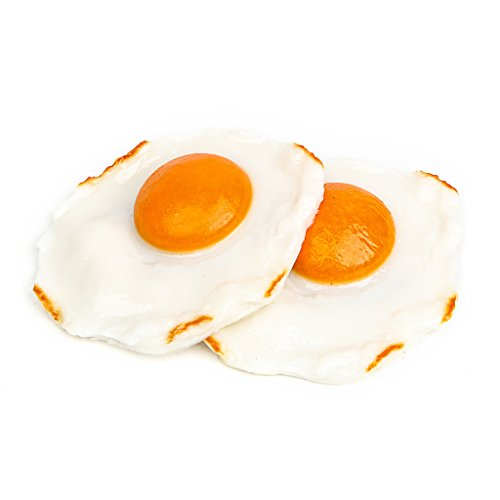 Pack of 2 Realistic Fried Egg Artificial Fake Food Novelty Toy Brown Birthday Prank Toy Novelty Gift Joke (How I Make Cupcakes)