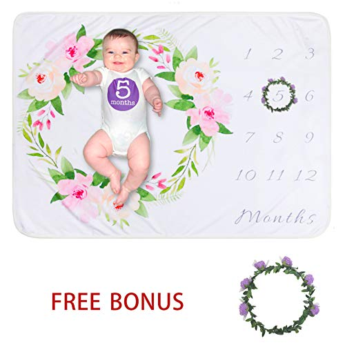 Softan Baby Monthly Milestone Blanket Girl Boy | Soft Photography Background Growth Blanket with Bonus Floral Wreath | Baby Month Blanket | Newborn Girls Boys Photo Prop | Baby Shower Gift