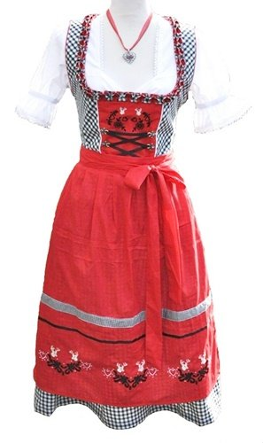 Dirndl Mididirndl Trachtenkleid Rot Schwarz mit Stickerei 3 tlg. Set -