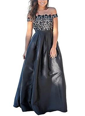 AlvaQ Women's Off The Shoulder Lace Crochet Top Maxi Dress