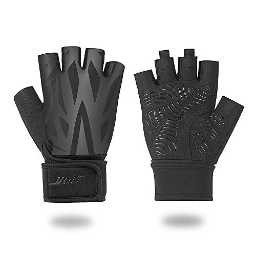 MAJCF Workout Gloves Gym Gloves for Training Full Palm Protection Weight Lifting Gloves for Exercise, Fitness, Powerlifting, Cycling, Rowing, Men & Women (Black/1, - Full Training