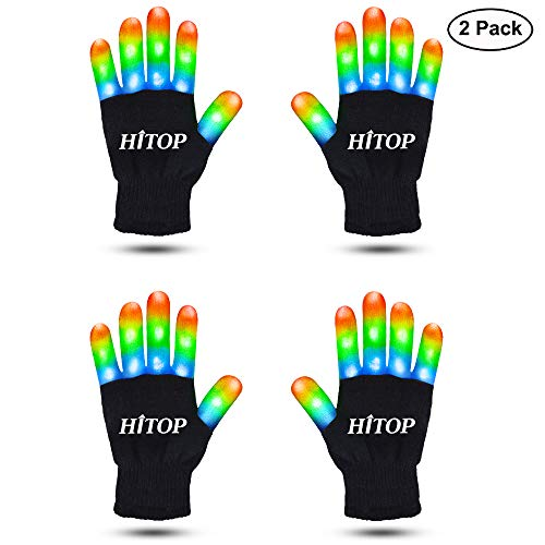 HITOP Led Gloves for Kids, 2 Pairs Kids Finger Light Up Flashing Gloves Party Costume Glow Toys for Boys and Girls, Best Christmas Stocking Stuffer for Kids (7.5