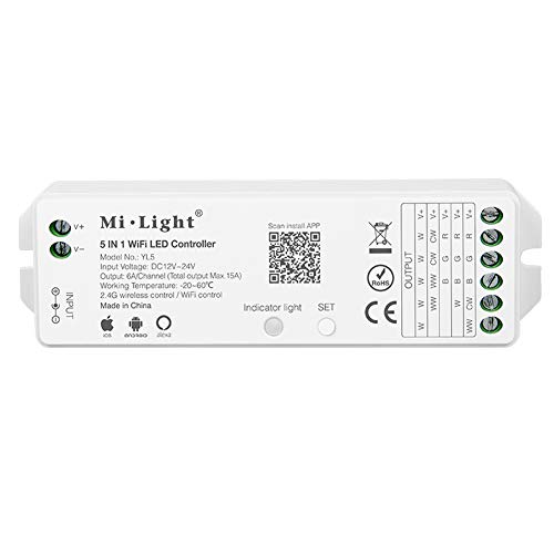 Mi Light YL5 LED Strip Light 5 in 1 Controller Smartphone APP Control  Without Extra Hub Amazon Alexa Voice Control with Mi-Light Cloud Smart Home