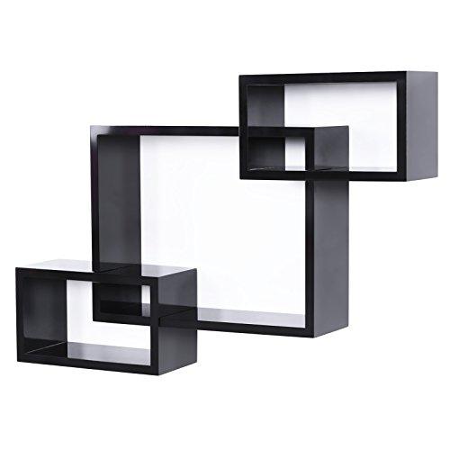 Songmics 3er-Set Dekorative Wandregal für CD DVD Bücher, freischwebend, Tiefe 13 cm, hoher Tragkraft, schwarz LWS69B